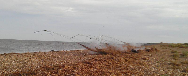 Cannon net firing on beach