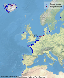 Graph showing where Wash-ringed Redshank have been found abroad (blue dots) and where foreign-ringed birds that have been encountered on The Wash were ringed (maroon dots).