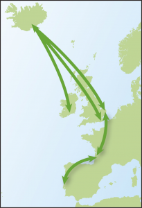 Map showing movements of Black-tailed Godwits from Time to Fly by Jim Flegg.