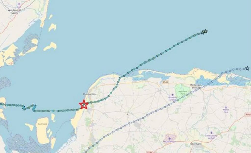 Tracks of the Bewick's Swans, with the red star denoting the team's sighting. Maps courtesy of WWT.